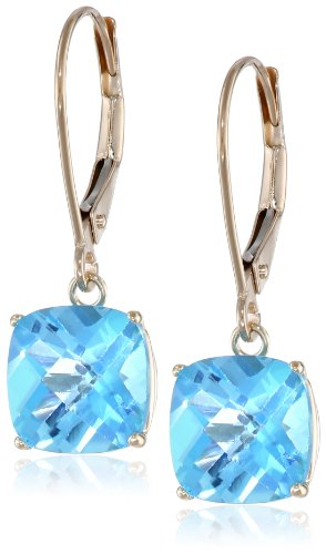 (10k Yellow Gold Cushion-Cut Checkerboard Blue Topaz Leverback Earrings)
