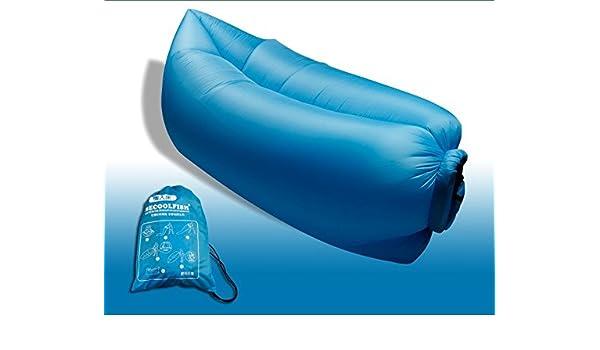 Firetop colchones inflables Sofa portátil-Cojín de aire para Camping jardín, terraza Patio pesca exterior playa piscina ropa de verano, nailon, azul, ...
