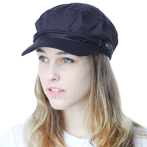 0618f2fde721e THE HAT DEPOT Black Horn Unisex Cotton Greek Fisherman s Sailor Fiddler Hat  Cap