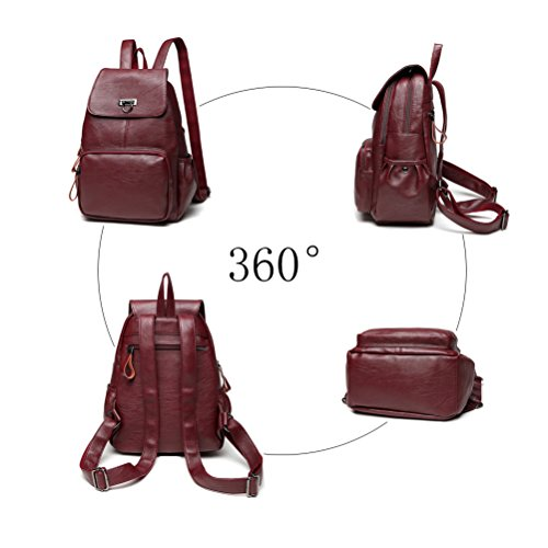 Fanshu Backpack Bag Blue Leather Women Red Bag Travel Casual for Backpack Ladies School Girls Shoulder Satchel Purse r7rwRqx