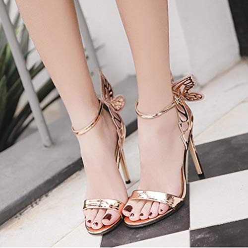 Woman Roman Butterfly Back Stiletto Ankle Strap Buckle High Heel Shoes Retro Peep Toe Glossy Sandals Party Boots Shoes (Rose Gold, 6.5 M US)