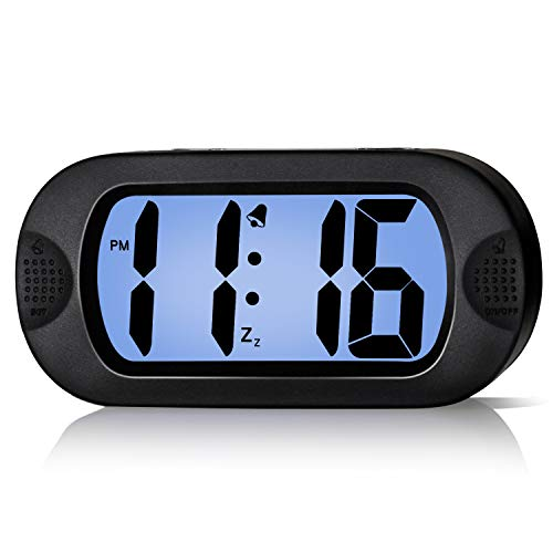 - Betus LCD Digital Alarm Clock with Snooze Function and Backlight - Large Screen Big Bold Numbers Desk Digital Alarm Clock with Silicone Protective Cover, Battery Powered (Black)