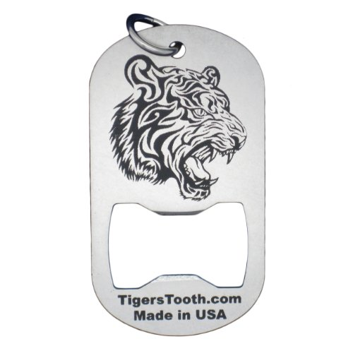 - Tiger's Tooth Dog Tag Bottle Opener - Stainless Steel minimalist keychain tool - Made in USA