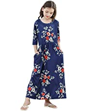ZOEREA Girls Floral Maxi Dress for Summer, Short Sleeve Loose Casual Holiday Long with Pockets 5-10 Years
