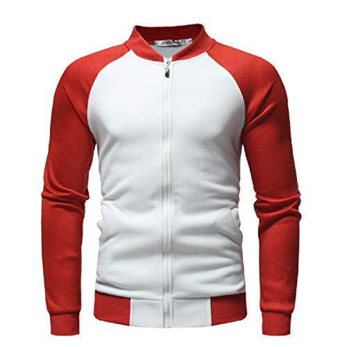XINHEO Mens Stand Collar Contrast Zips Raglan Fleece Sweatshirt Jacket White
