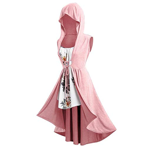 SHUBHU Women's Short Sleeve Vintage Cloak Plus Size Long Hooded Front Tie Vest and Floral Top T-Shirt (A-Pink, L) ()