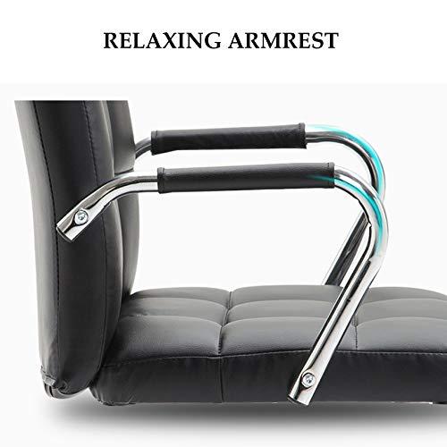LIYIN Skrivbordsstolar med hjul/armstöd modern PU-läder kontorsstol höjd justerbar hem datoruppgift stol, 360° vridbar – svart