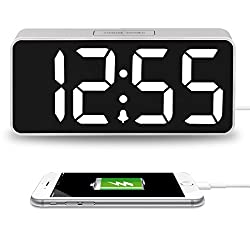 iCKER 9 Digital Alarm Clock Large Display USB Charger, LED Clock Dimmer Bedroom, Snooze Function, DST & Time Zone, Battery Backup (Silver)
