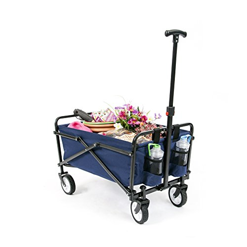 YSC Wagon Garden Folding Utility Shopping Cart,Beach Red (Navy Blue)