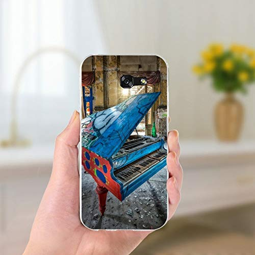Blue Red Music Theme Galaxy Note 4 Case Brown Piano Pattern Phone Cover Classic Keyboards Italian Organ Italy Instrument Musical Orchestra Cellphone Protector, Plastic
