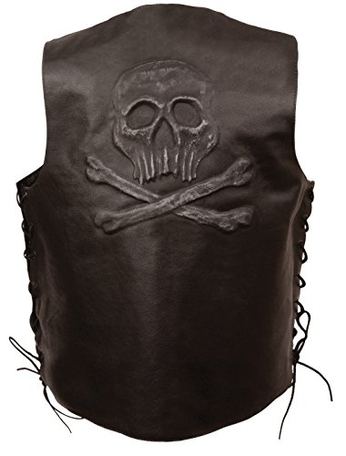 Event Leather Men's Side Lace Retro Brown Leather SNAP Vest W/Skull Embossed 2 Gun Pocket (Retro Brown Vest Side Laces)