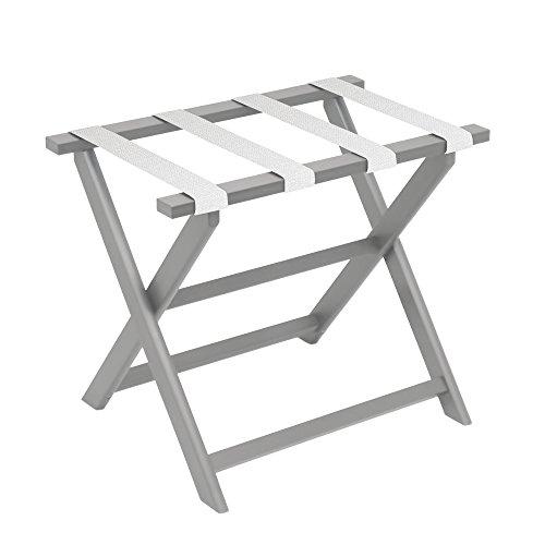 Light Grey Eco-Poly Folding Luggage Rack with 4 White Mesh Straps ()