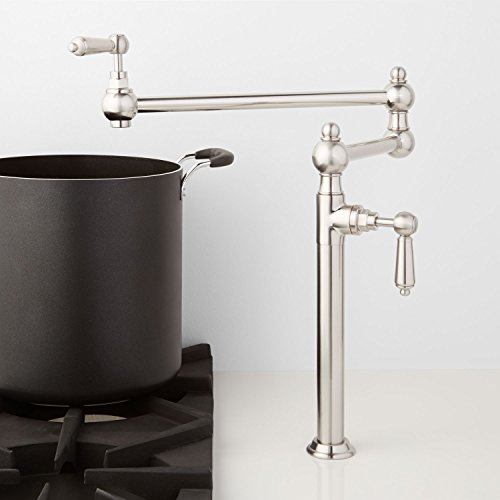 Naiture Deck-Mount Retractable Pot Filler-Metal Lever Handles in Brushed Nickel Finish ()