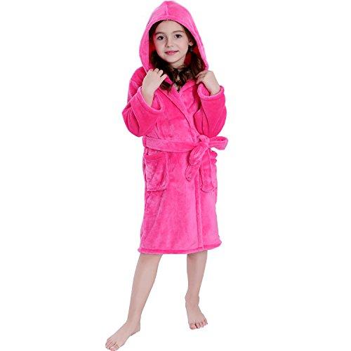 Hooded Herringbone Girl's Fleece Pink Soft Spa Kimono Long Robe,Kids Comfy Sleepwear Bathrobe(8-9 Year)