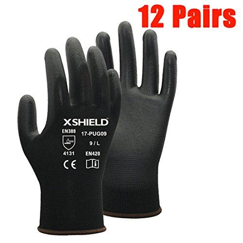 XSHIELD 17-PUG,Polyurethane/Nylon Safety WORK Glove,BLACK,12 Pairs (Large)