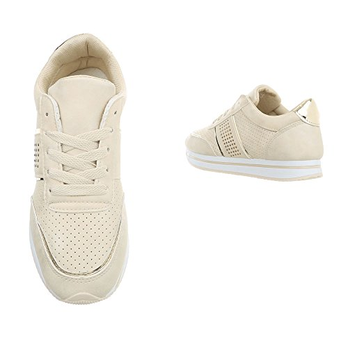 Baskets Low Mode Espadrilles Sneakers Chaussures Beige design Ital Rl1715 Plat Femme AY6qnw5
