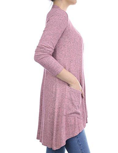 Biadani Women Long Sleeve Classic Lightweight Front Pockets Cardigan Light Sweater Pink Medium