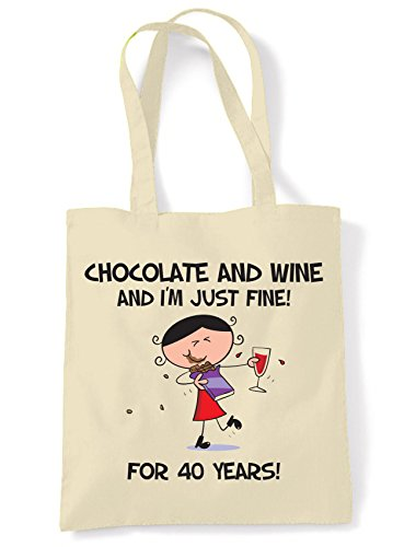 Bag 40 Years Birthday and amp; Fine Present Just Chocolate Wine For 40th Tote I'm Shoulder 86x40a