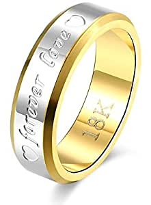 BFJOI Engraving Name Anniversary Rings for Women & Men Gold-color Jewelry Silver Forever Love Letter Wedding Couple Ring