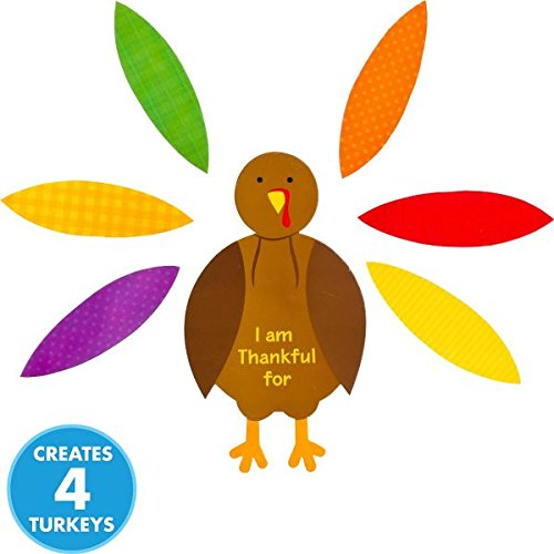 Amscan Festive Fall Thanksgiving Party Turkey Craft Kit Activities, Multicolor