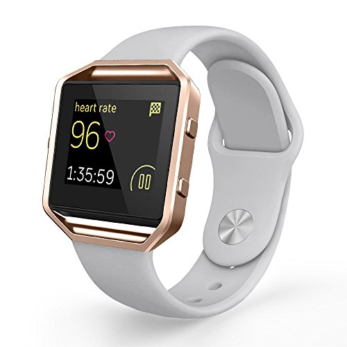 UMTELE Soft Silicone Replacement Strap with Rose Gold Frame for Fitbit Blaze Smart Fitness Watch, Small, - Silver Blaze