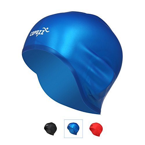 COPOZZ Swim Cap, Lightweight Comfortable Silicone Swimming Cap With Ear Protection, 3D Ergonomic Design Waterproof Swim Caps-Long Hair Compatible-For Unisex Adult Women (Wrinkle Free Silicone Cap)