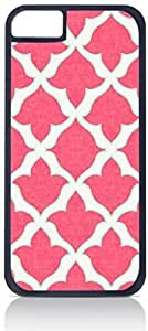Pink Tulip Pattern- Case for the Apple Iphone 5-5s Universal-Hard Black Plastic Outer Shell with Inner Soft Black Rubber Lining-(NOT 5C)