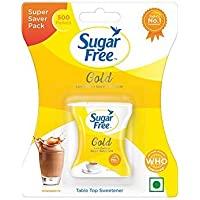 500 Tablets Sugar Free Gold is Equal to Zero Calories Sweetener Low Calorie Sugar Substitute 500 Pellets (Pack of 2)