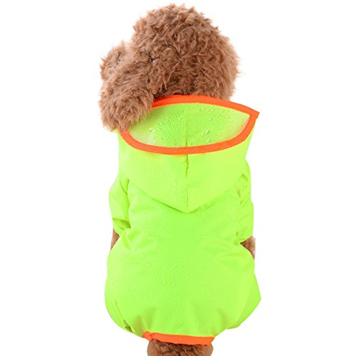 Dog Raincoat, Waterproof Nylon, 4-Leg Pet Raincoat,Adjustable Pet Dog Waterproof Jumpsuit Raincoat Jacket with Safe Reflective Strips -