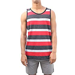 Yago Mens Summer Time Tank Top Shirt (Small, Grey/Black)