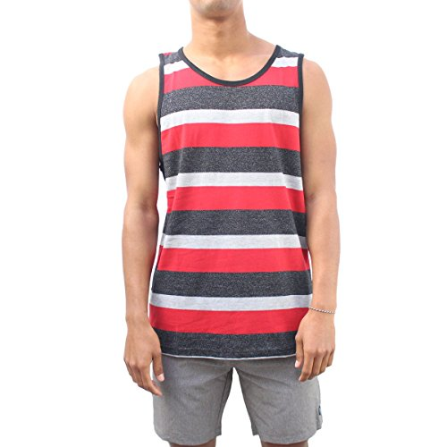 Yago Mens Summer Time Tank Top Shirt (X-large, Black/Red)