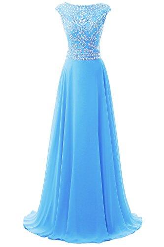 Dresstore Women's Long Chiffon Bridesmaid Dress Cap Sleeves Beaded Prom Eveing Gown Blue US (Beaded Chiffon Gown)