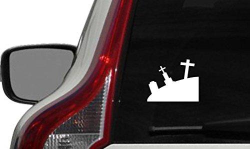 Graveyard Silhouette Version 1 Car Vinyl Sticker Decal Bumper Sticker for Auto Cars Trucks Windshield Custom Walls Windows Ipad Macbook Laptop and More (WHITE) -