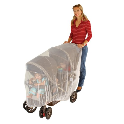 J is for Jeep Mosquito Net for Baby Double Strollers, White, Universal Size, Tandem Stroller Bug Cover, Weather Protection