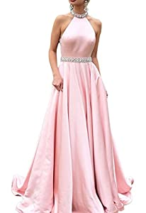 HONGFUYU Prom Dresses Backless Halter Neckline Rhinestone Beaded Formal Satin Evening Ball Gowns