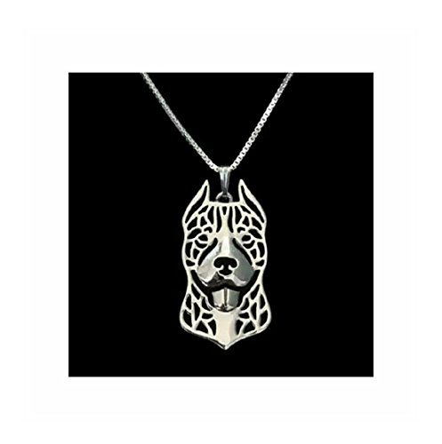 Pit Bull Terrier Dog (Cropped Ear) Necklace Silver-Tone