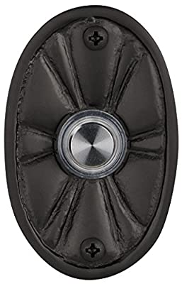 Waterwood Solid Brass Oval Flower Doorbell in Black
