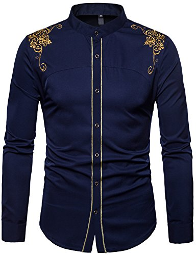 WHATLEES Mens Casual Hipster Mandarin Collar Slim Fit Long Sleeve Dress Shirts with Gold Embroidery T156 Navy Blue XX Large