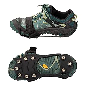 Juvale Crampon - Traction Cleats, Spikes, Anti-Skid Traction Grips, Ice Creeper, Traction Shoes, Traction Aids for Walking, Hiking, Jogging, Mountaineering on Ice and Snow, 10 Teeth, Black, black, Medium