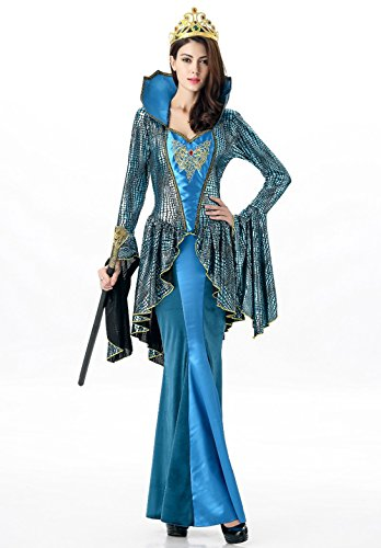 Zooma Women Sexy Egyptian Queen Costume Cleopatra Goddess Cosplay Dress (Medium, Peacock Blue) (Sexy Peacock Costume)