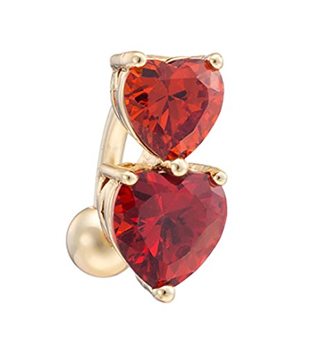 YiYi Operation Gold Plated Belly Button Rings Heart Cubic Zirconia Drop Sexy Reverse Navel Barbell Body Piercing ()