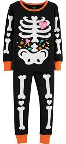 Carter's Toddler Girls 2-Piece Glow-in-The-Dark Halloween Snug Fit Cotton PJs,Black,5T