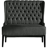 Baxton Studio Vincent Grey Linen Button Tufted Loveseat with Silver Nail Heads Trim