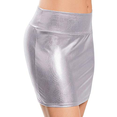 Thenxin Sexy Imitation Leather Lingerie Skirt Slim Buttocks Short Straight Mini Skirt for Honeymoon (Silver,Free Size)