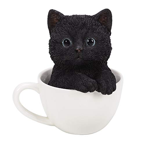 Pacific Giftware Black Kitten Tea Cup Pal Statue Home Decor ()