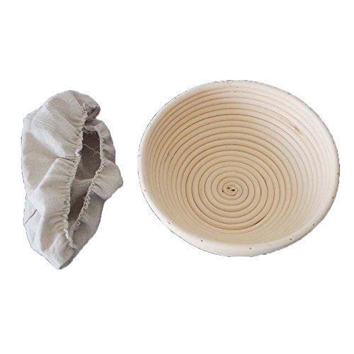 (BetterJonny 22cm Round Banneton Brotform Sourdough Bread Proofing Basket & Liner Combo)