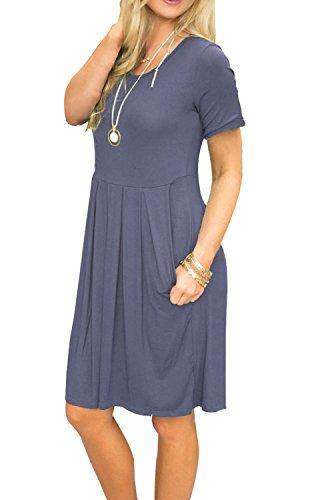 2a2c24643ca AUSELILY Women's Short Sleeve Pockets Pleated Loose Swing T-Shirt Dress  Purple Gray M