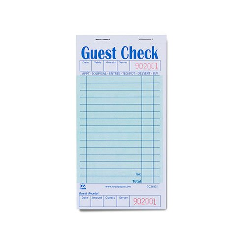Royal Green Guest Check Board, 1 Part Booked with 15 Lines, Case of 50 Books by Royal
