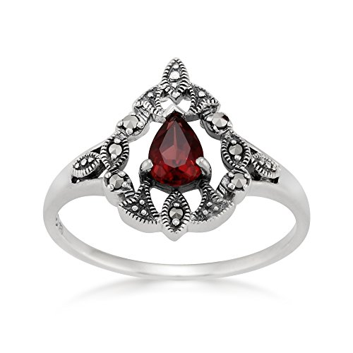 925 Sterling Silver Victorian Mozambique Garnet & Marcasite Ring