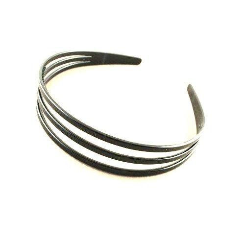 aliceband - schwarz dreireihig breite Kopfband Haarreif